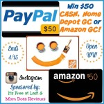 Paypal, Amazon or Home Depot $50 Giveaway